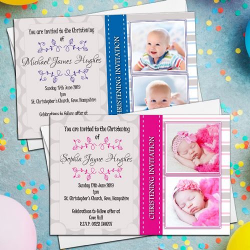 10 Personalised Girls Boys Christening Baptism Naming Day Photo Invitations Invites N4/5